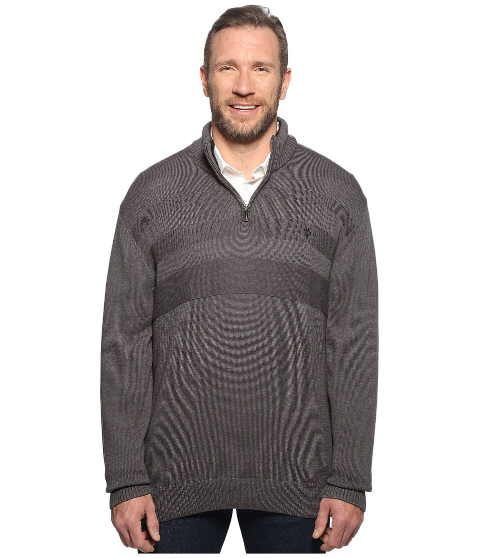U.S. POLO ASSN. - Long Sleeve 1/4 Zip Chest Texture (Granite Heather) Men's Sweater