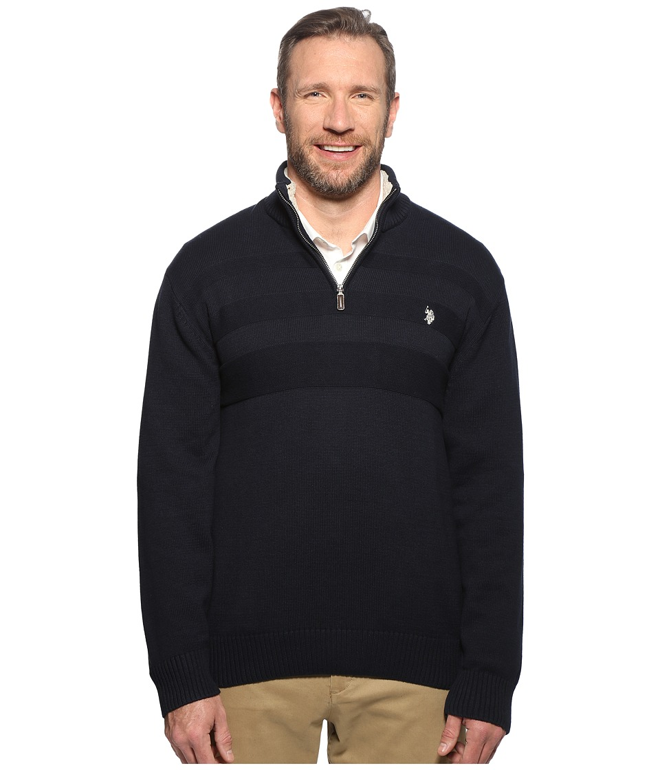 U.S. POLO ASSN. - Long Sleeve 1/4 Zip Chest Texture (Navy) Men's Sweater