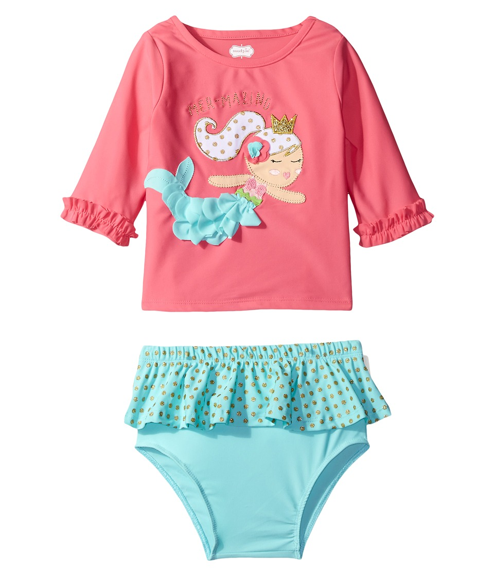 Mud Pie - Mermaid Rashguard Bikini Set (Toddler) (Pink) Girl's Swimwear Sets