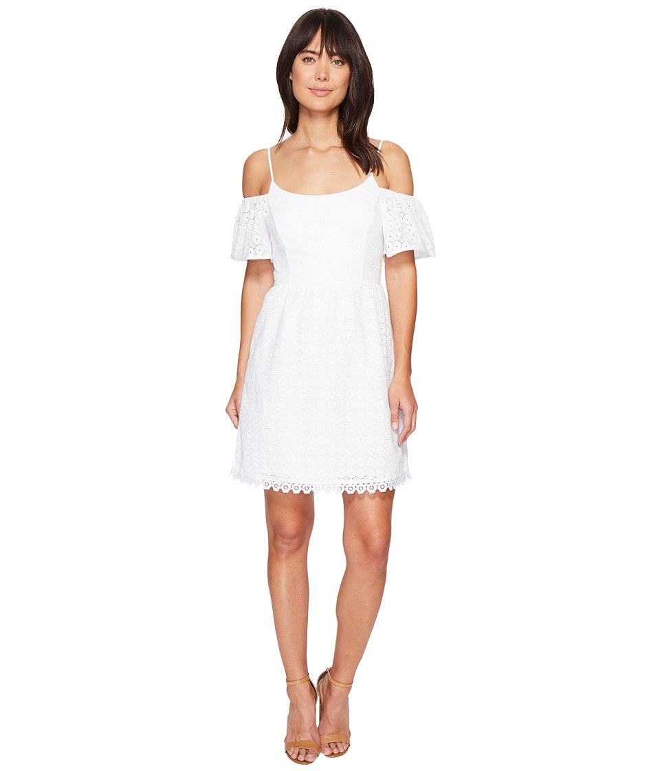 kensie - Eyelet Dots Dress KS4K7683 (White) Women's Dress