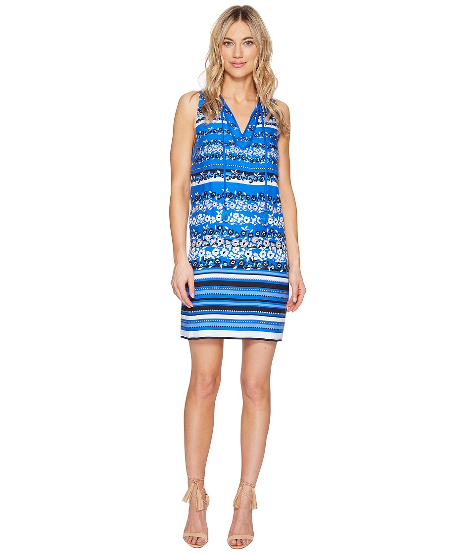 kensie Floral Stripes Dress KS5K7827 (Vivid Blue Combo) Women