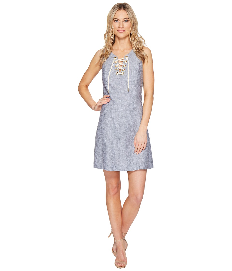 kensie - Cross Dye Linen Blend Dress KS5K7796 (Darkest Navy Combo) Women's Dress