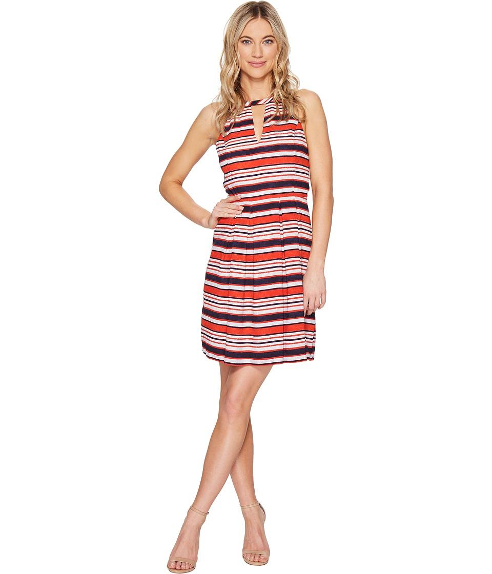 kensie Sandbox Stripe Dress KS5K7979 (Hot Lava Combo) Women