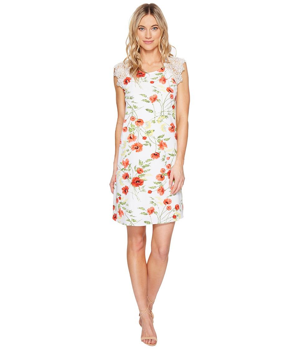 kensie Wild Poppies Dress KS5K968S (Hot Lava Combo) Women