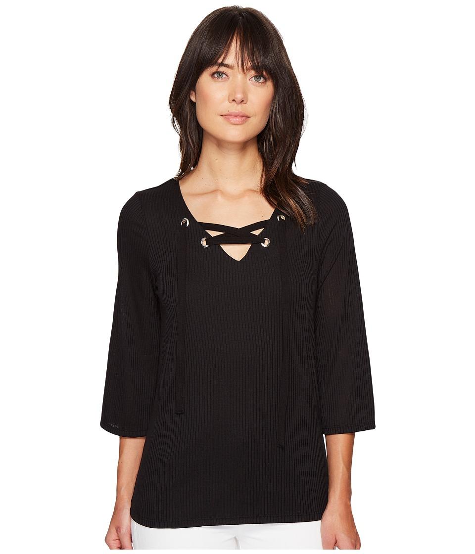 kensie - Subtle Slub Tees KS4K3507 (Black) Women's T Shirt