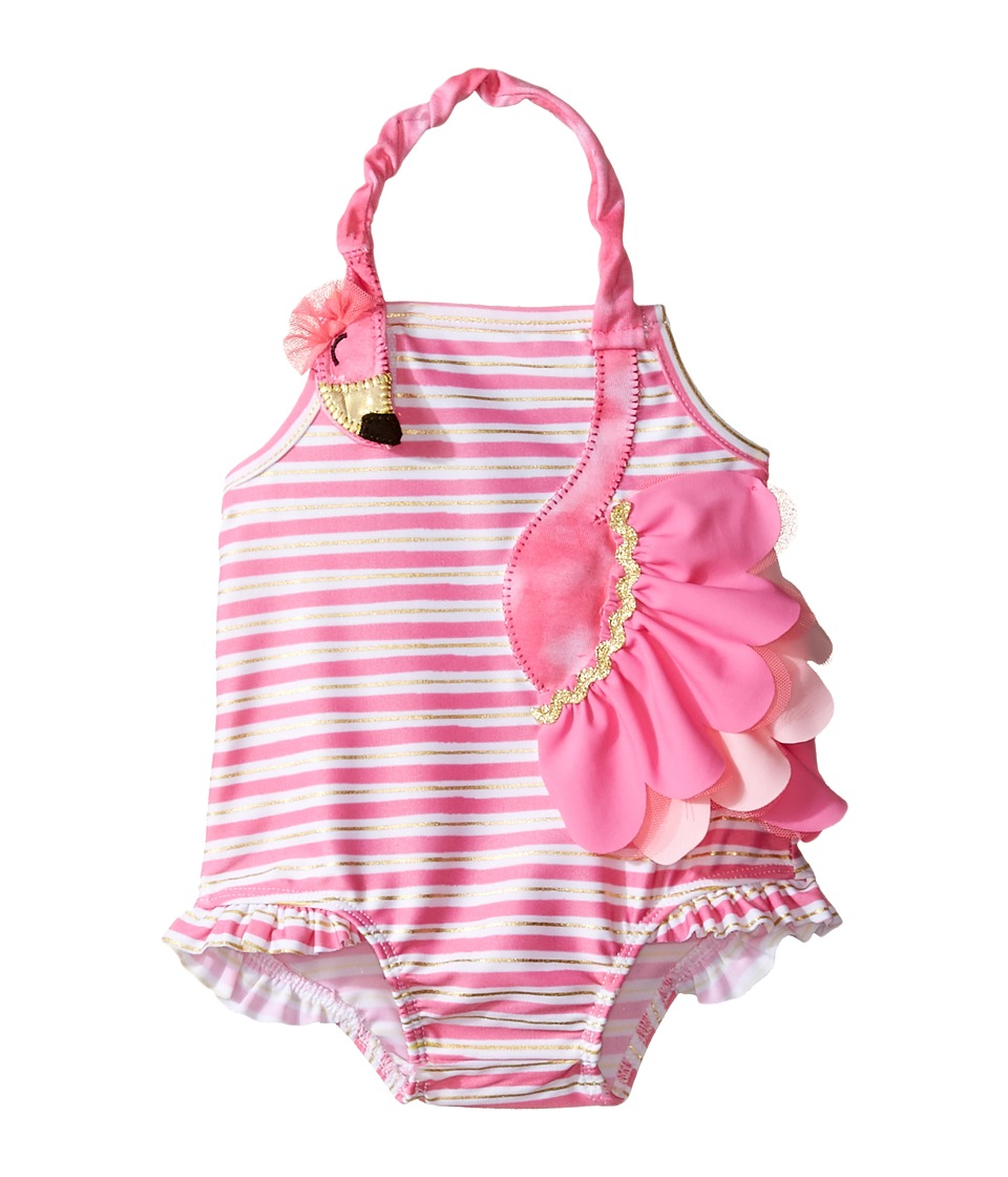Mud Pie - Flamingo Ruffle Swimsuit (Infant) (Pink) Girl's Swimsuits One Piece