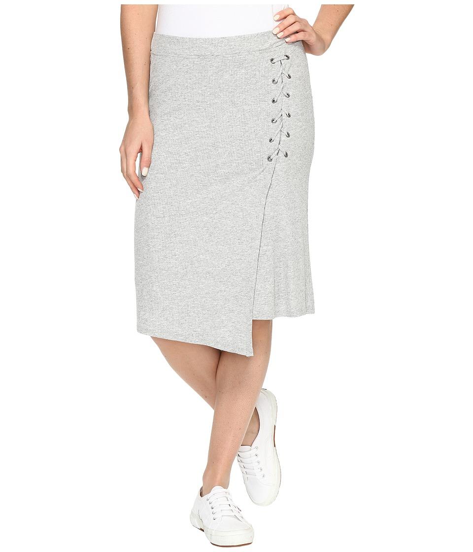 Splendid - Drapey Lux Rib Lace-Up Skirt (Heather Grey) Women's Skirt