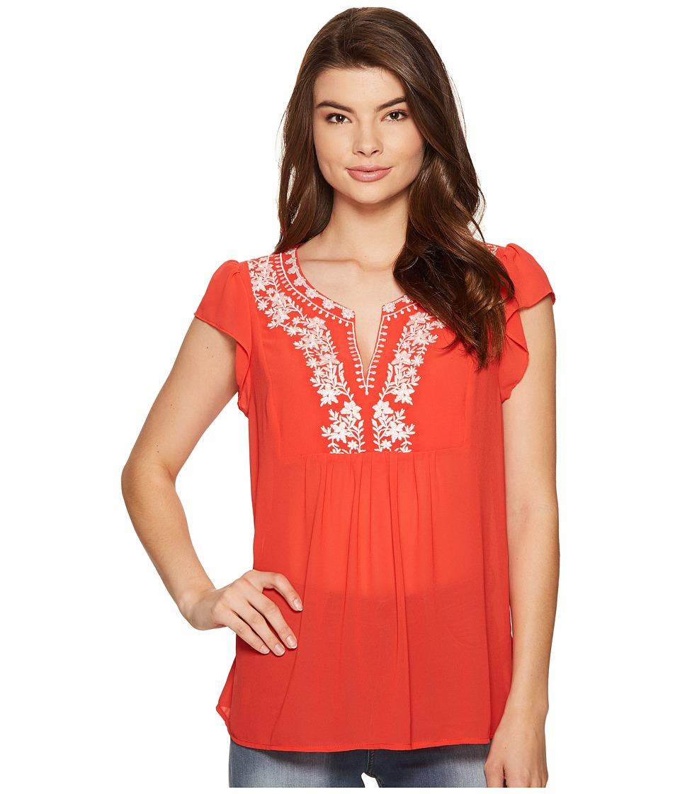 kensie - Drapey Chiffon Top KS5K4306 (Hot Lava Combo) Women's Clothing