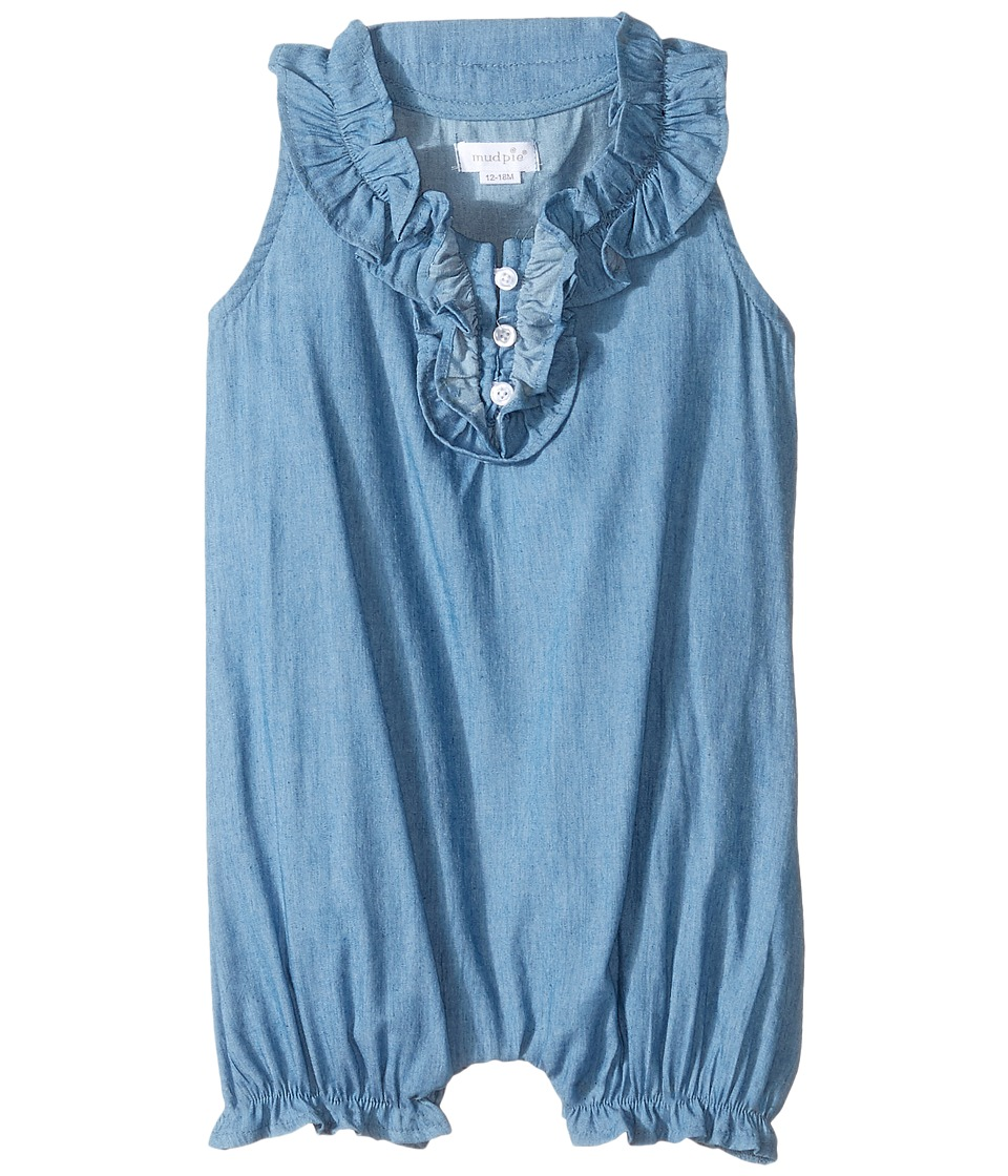 Mud Pie - Mini Chambray Bubble (Infant) (Blue) Girl's Jumpsuit & Rompers One Piece