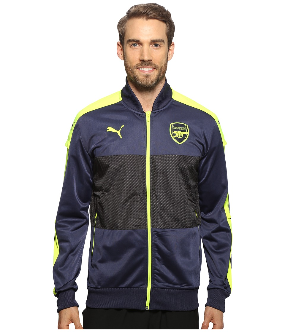 PUMA - AFC Stadium Jacket (Peacoat/Safety Yellow) Men's Coat