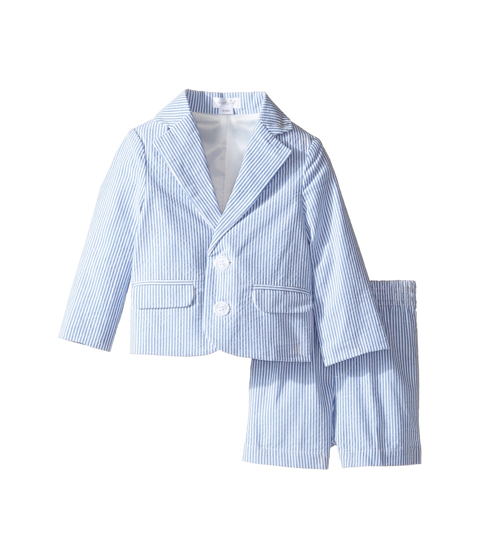 Mud Pie - Seersucker Short Suit (Infant) (Blue) Boy's Suits Sets