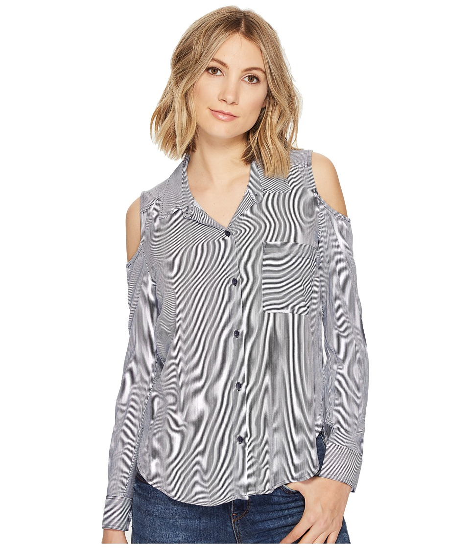 Splendid - Boardwalk Stripe Mixed Stripe Shirt (Navy) Women's Long Sleeve Button Up