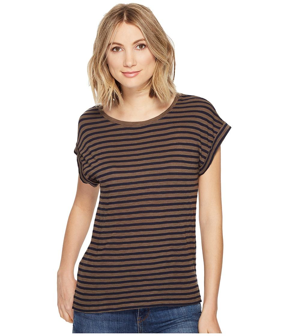 Splendid - French Stripe Roll-Up Tee (Military Olive) Women's T Shirt