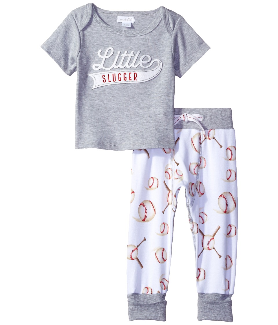 Mud Pie - Little Slugger Pants Set (Infant) (Gray) Boy's Active Sets