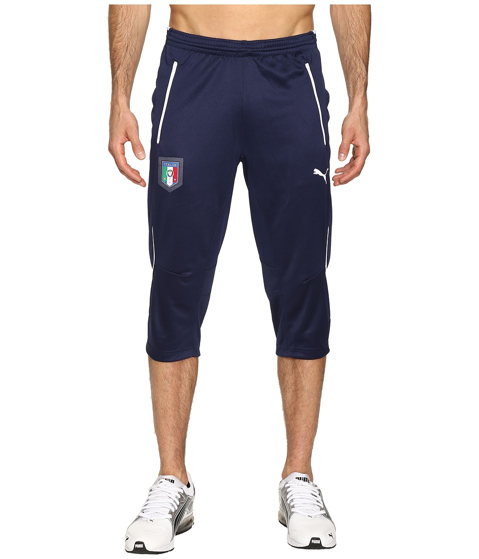 PUMA - Figc Italia Coach 3/4 Training Pants (Peacoat/White) Men's Casual Pants