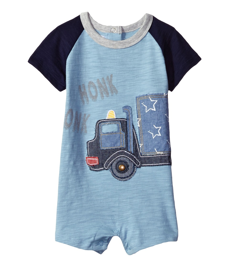 Mud Pie - Honk Truck Raglan One-Piece (Infant) (Blue) Boy's Jumpsuit & Rompers One Piece