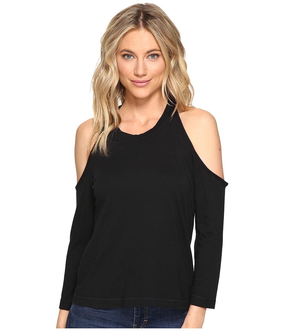 Splendid - Very Light Jersey Cold Shoulder Tee (Black) Women's T Shirt