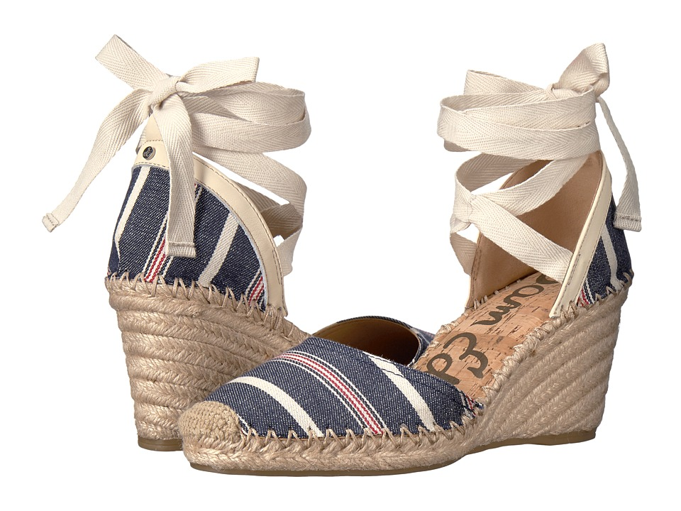 Sam Edelman - Patsy (Blue Multi/Modern Ivory Large Americana Stripe Fabric) Women's 1-2 inch heel Shoes