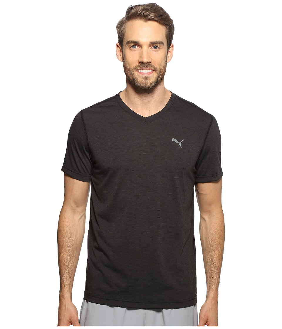 PUMA - Essential Short Sleeve V-Neck Stripe (Black/Dark Shadow) Men's Clothing