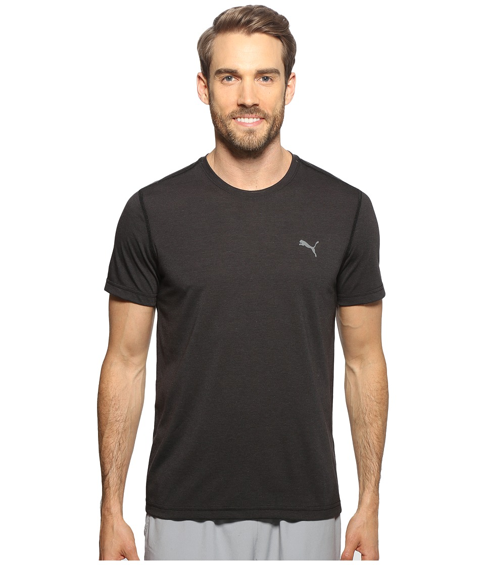 PUMA - Essential Short Sleeve Crew Stripe (Black/Dark Shadow) Men's Clothing