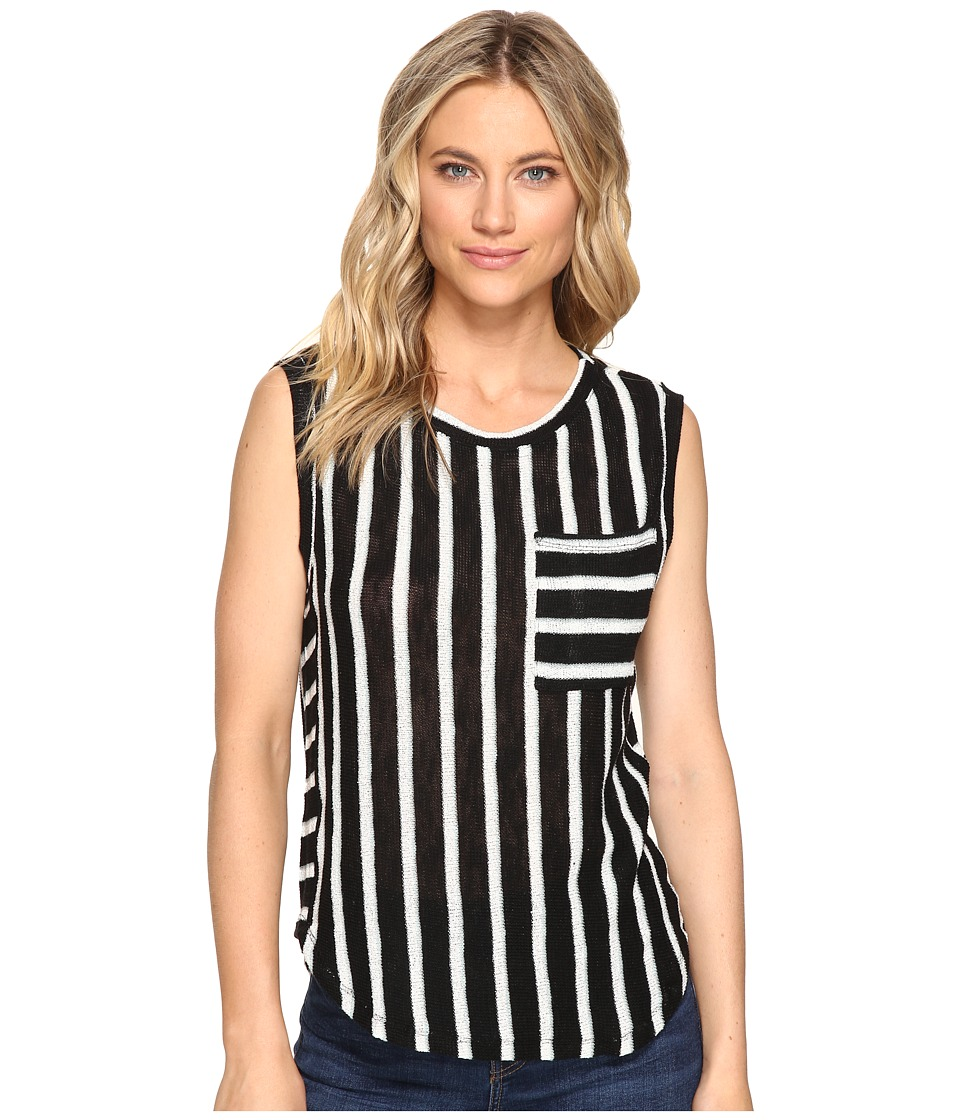 Splendid - Stripe Loose Knit Pocket Tank (Black) Women's Sleeveless