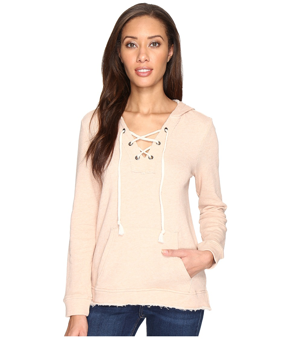 Splendid - Lace-Up Hoodie (Pink Beige) Women's Sweatshirt