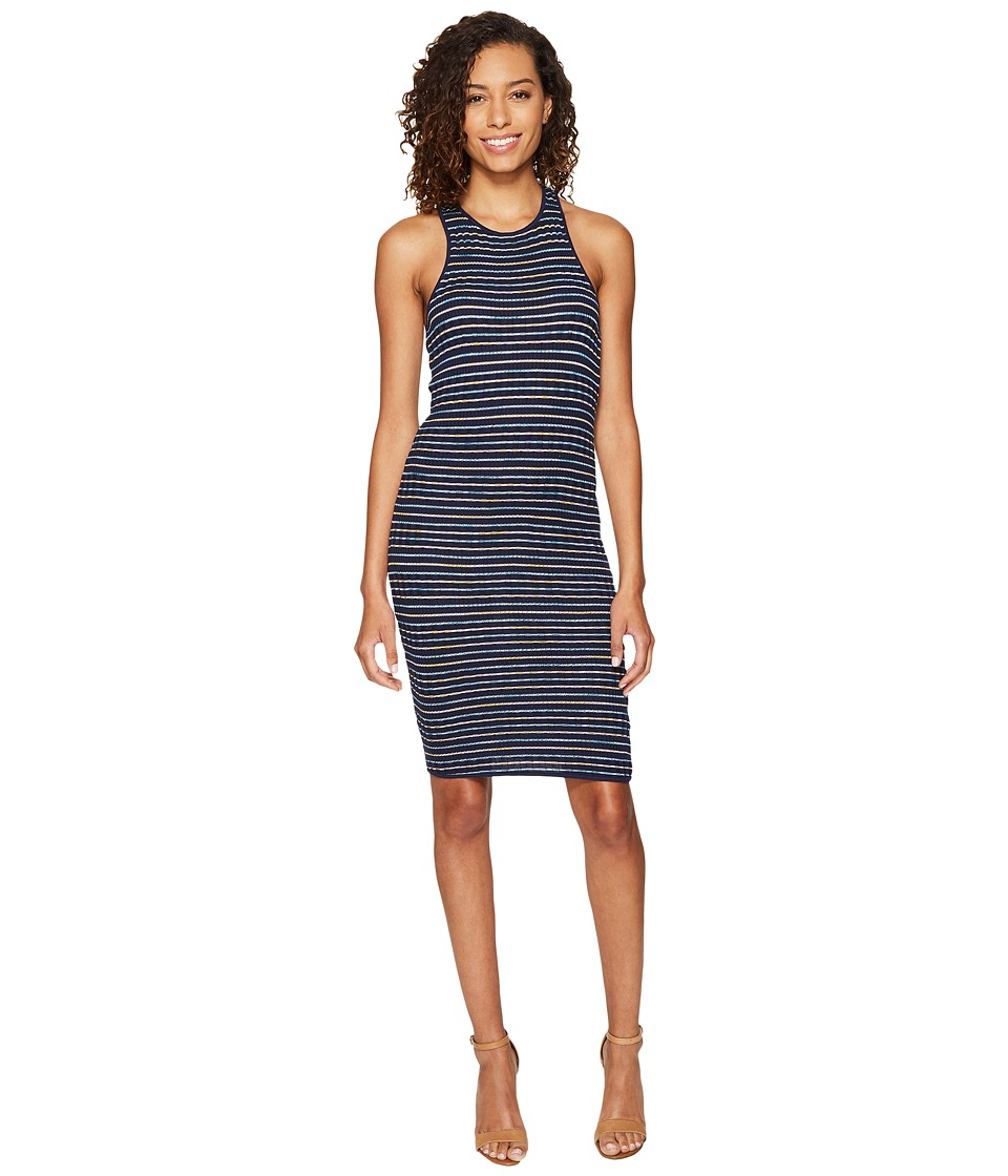 Splendid Stripe Rib Knit Tank Dress (Navy) Women