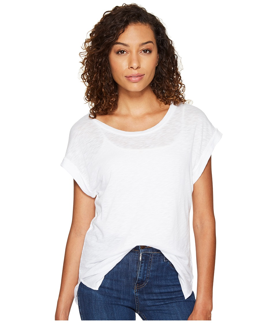 Splendid French Stripe Roll-Up Tee (White) Women