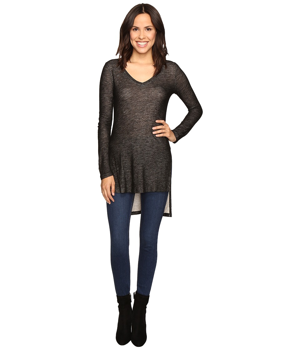Splendid - Long Sleeve V-Neck Tunic (Black) Women's Blouse