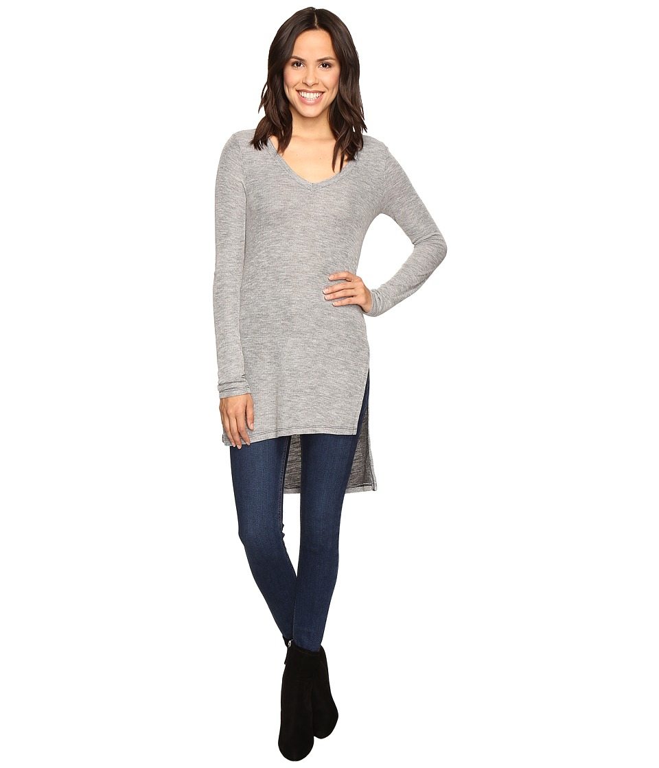 Splendid - Long Sleeve V-Neck Tunic (Heather Grey) Women's Blouse