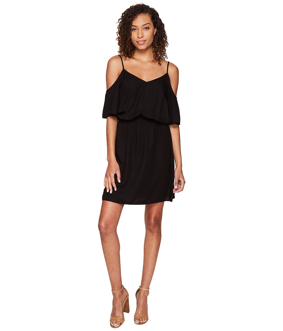 Splendid Rayon Crosshatch Cold Shoulder Dress (Black) Women