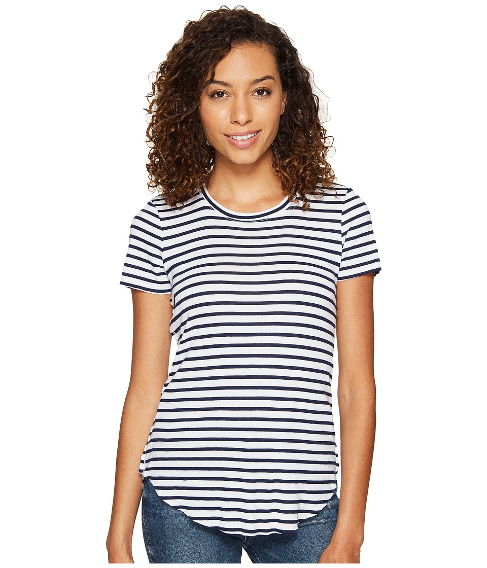 Splendid - 1x1 Venice Stripe Crew Neck Top (White) Women's Clothing