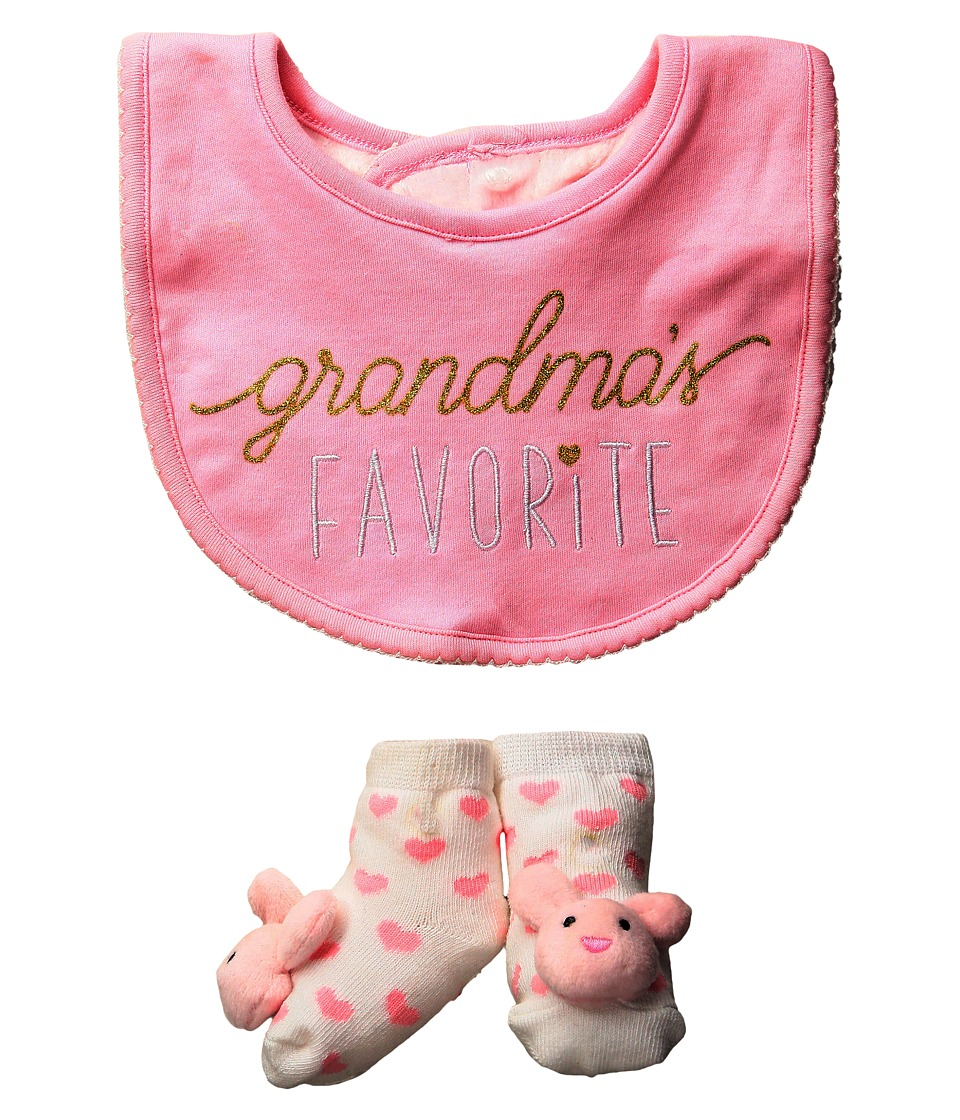 Mud Pie - Hello World Pink Bib Sock Set (Infant) (Pink) Kids Shoes