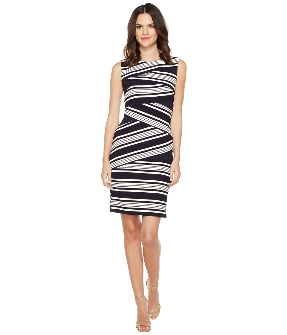 Adrianna Papell - Sleeveless Stripe Bodycon Dress (Bluemoon/White) Women's Dress