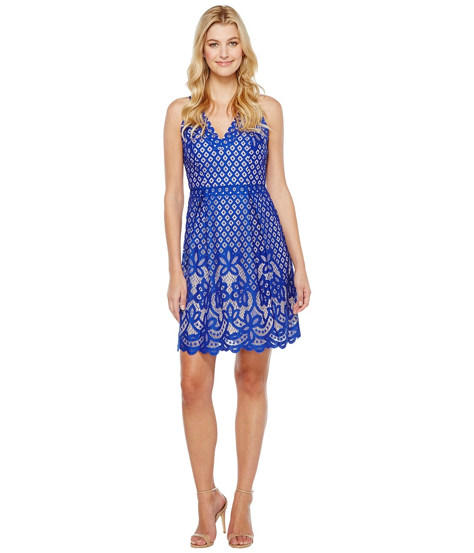 Adrianna Papell V-Neck Halter Giselle Lace Fit and Flare Dress