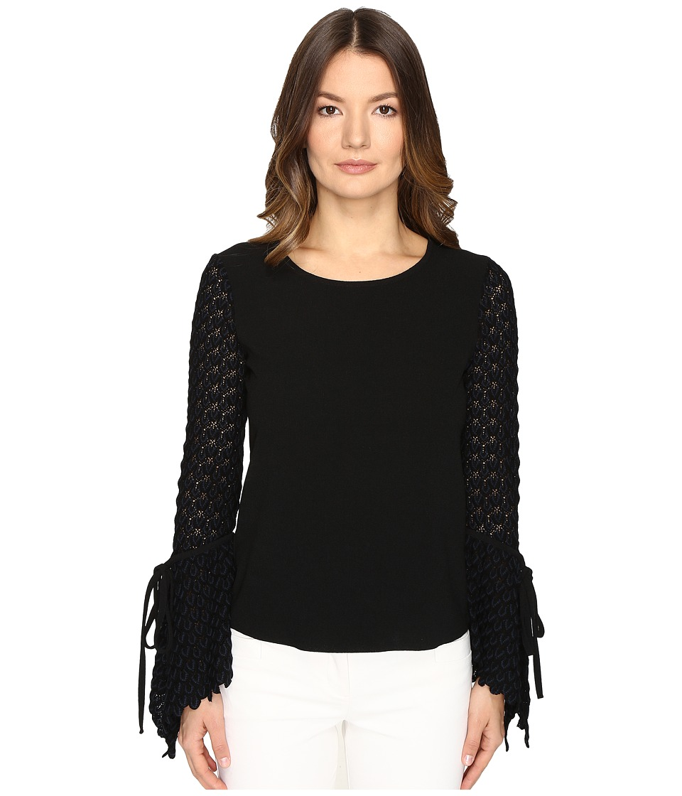 See by Chloe - Crepe Long Sleeve Lace Blouse (Black) Women's Blouse