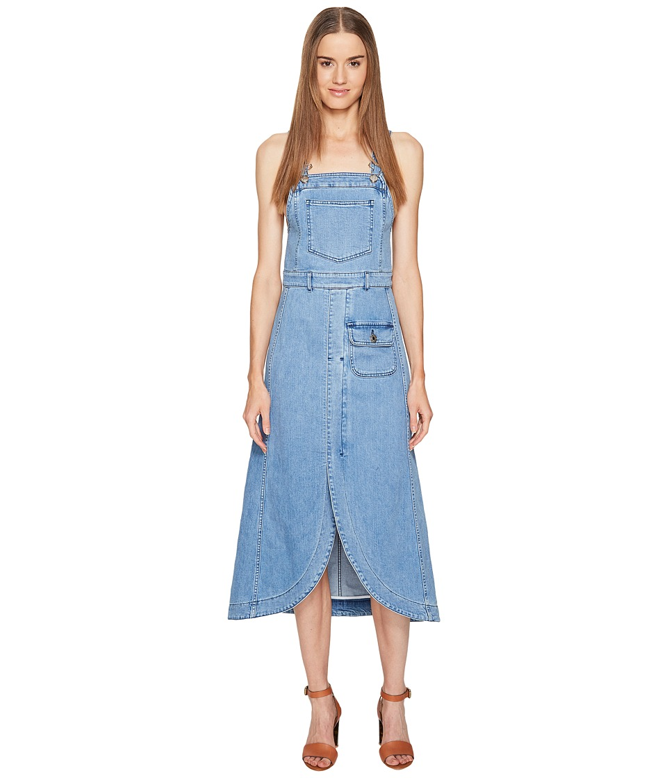See by Chloe - Denim Overall Dress (Washed Indigo) Women's Dress