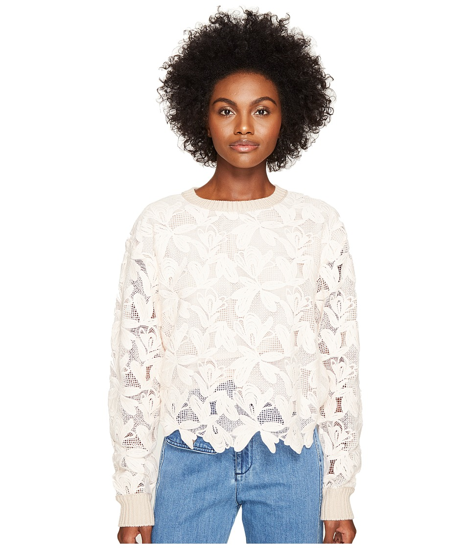 See by Chloe - Knit Lace Front Sweater (Powder) Women's Sweater