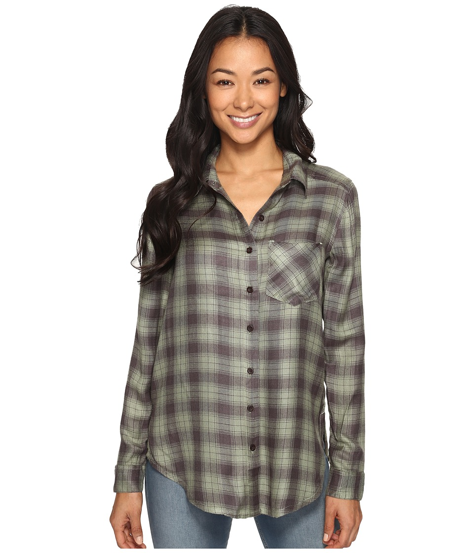 RVCA - York Plaid Button-Up Shirt (Greyskull) Women's Long Sleeve Button Up