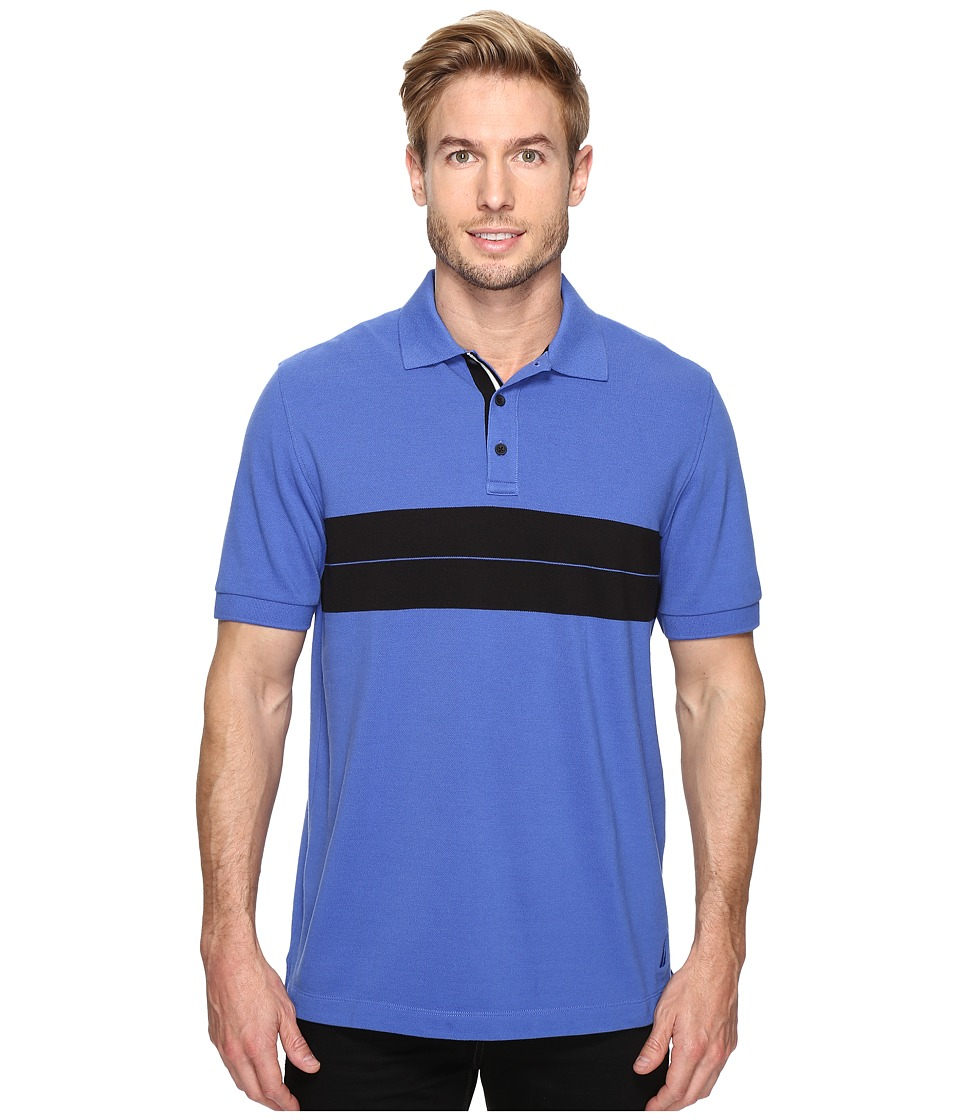 Nautica - Short Sleeve Chest Stripe Polo (French Blue) Men's Clothing