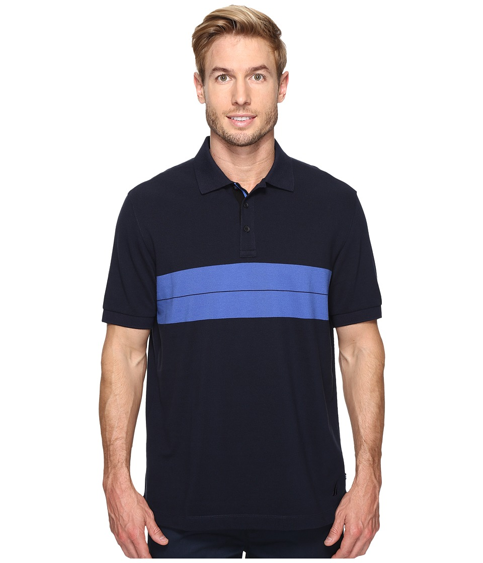 Nautica - Short Sleeve Chest Stripe Polo (Navy) Men's Clothing