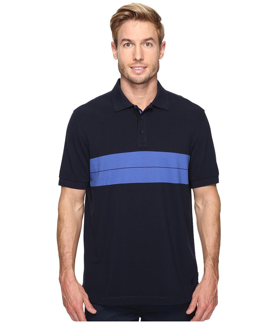 Nautica - Short Sleeve Chest Stripe Polo (Navy) Men's Clothing