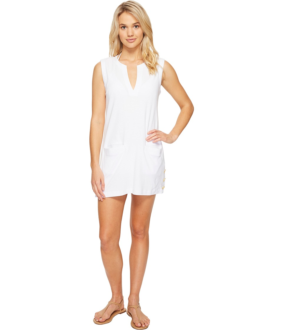 LAUREN Ralph Lauren - Button Tunic Cover-Up (White) Women's Swimwear