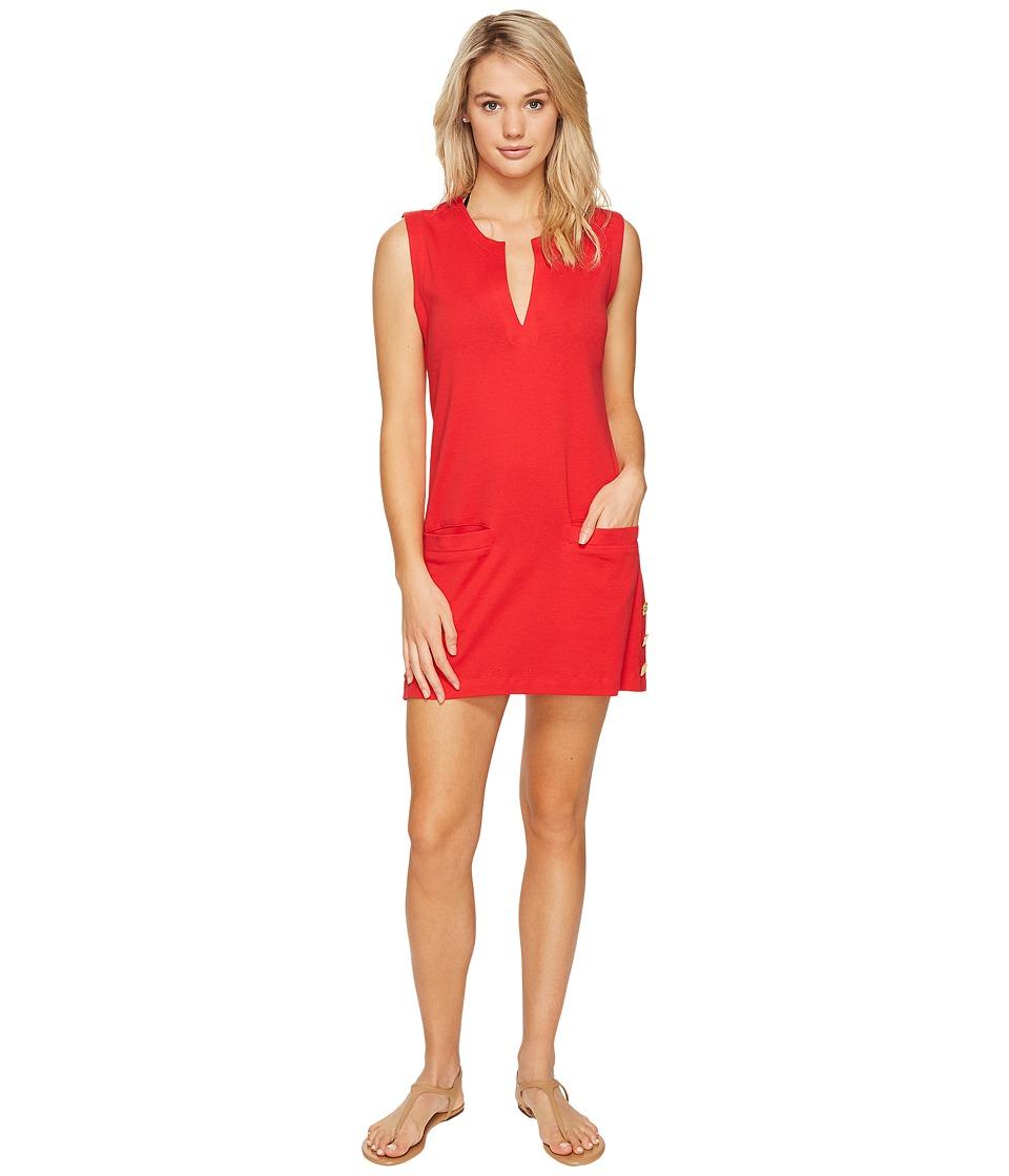 LAUREN Ralph Lauren - Button Tunic Cover-Up (Red/Orange) Women's Swimwear