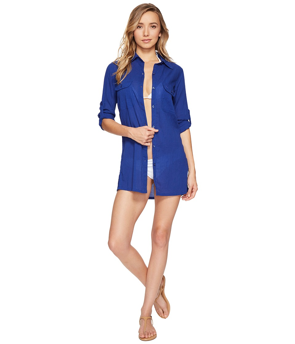 LAUREN Ralph Lauren - Crushed Camp Shirt Cover-Up (Ocean Blue) Women's Swimwear