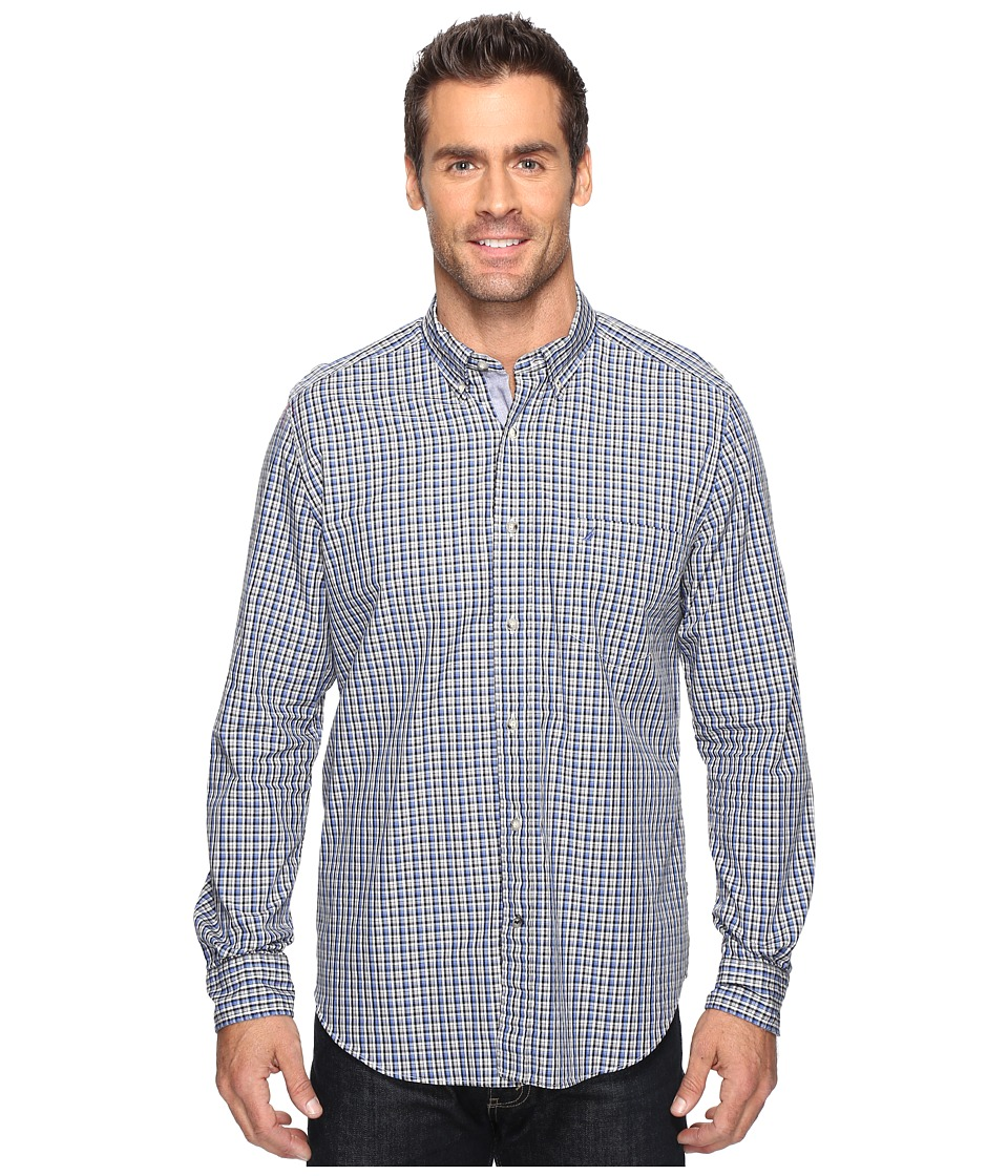 Nautica - Long Sleeve Small Plaid with Pocket (French Blue) Men's Clothing