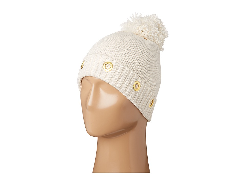 Steve Madden - Solid Grommet Cuff Hat (Ivory) Caps