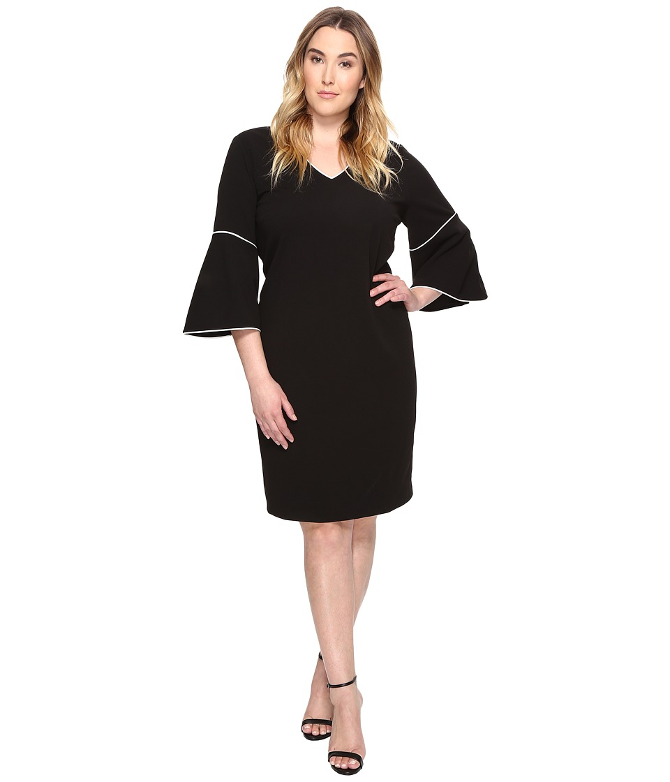 Calvin Klein Plus - Plus Size Bell Sleeve Sheath Dress (Black) Women's Dress