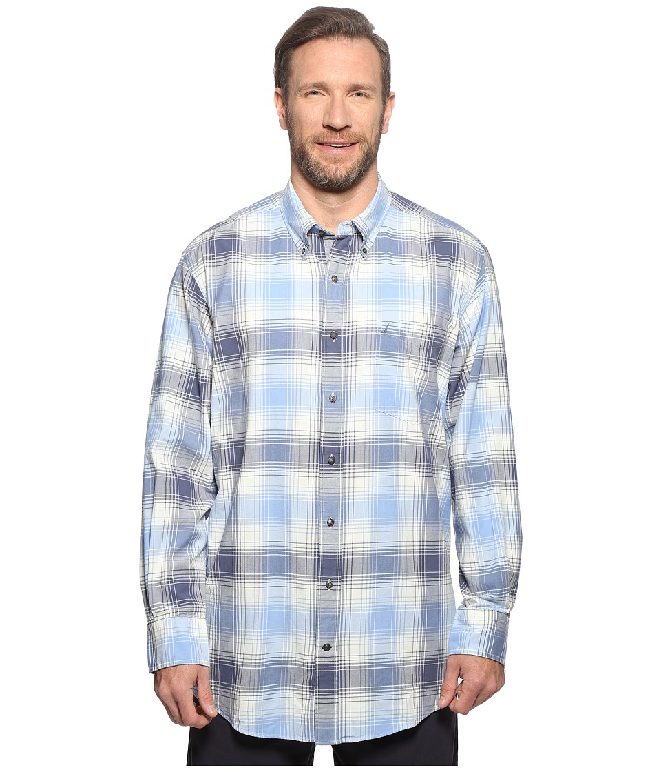 Nautica Big & Tall - Big Tall Long Sleeve Woven Plaid (Dellarouis Blue) Men's Clothing