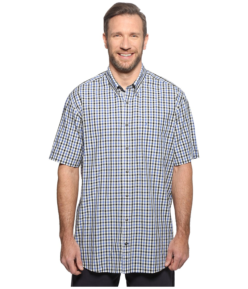 Nautica Big & Tall - Big Tall Short Sleeve Plaid Woven (French Blue) Men's Clothing